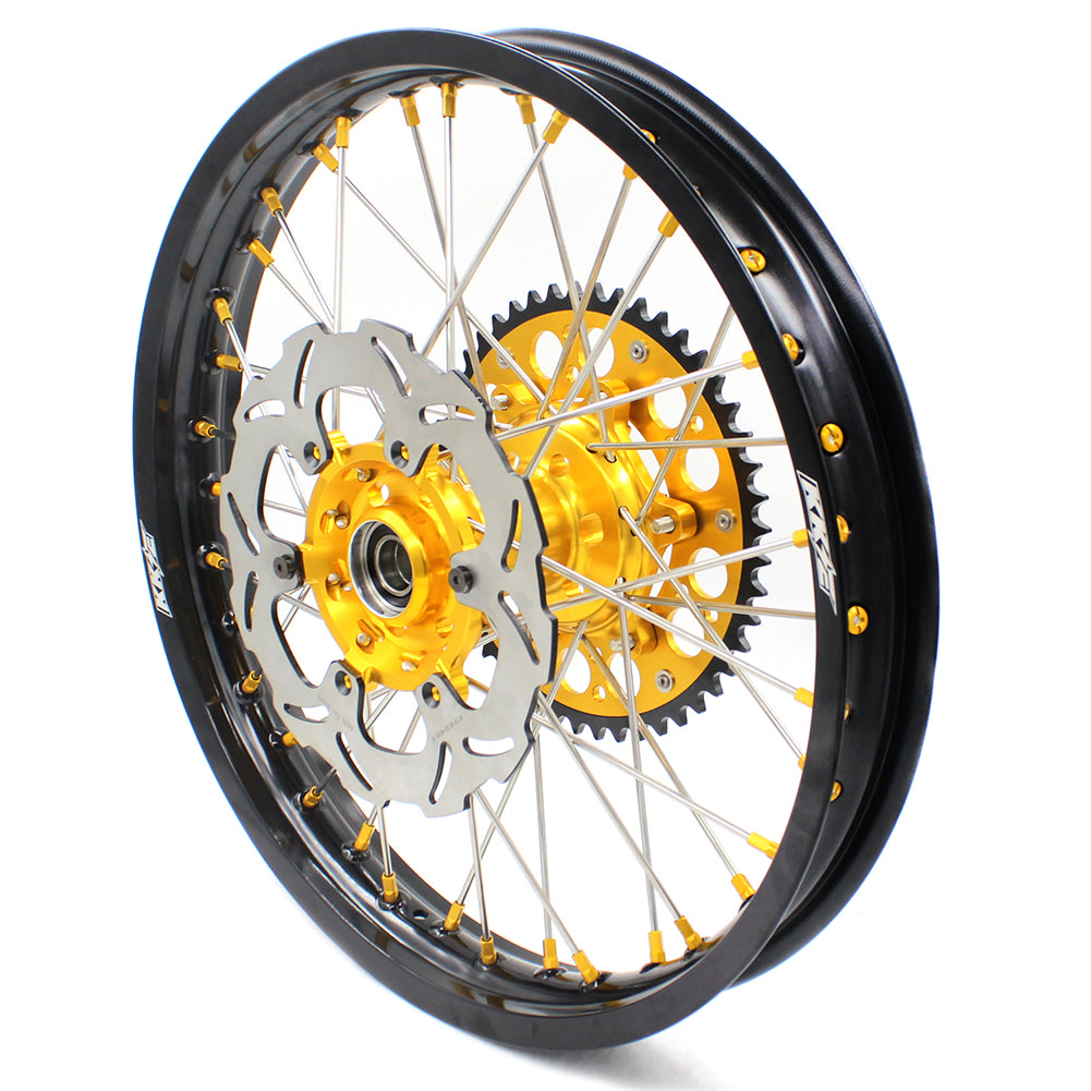 KKE 21/19 MX DIRT BIKES WHEELS RIMS SET FOR SUZUKI RM125 96-07 RM250 96-08 GOLD NIPPLE SILVER SPOKE - KKE Racing