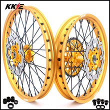 Load image into Gallery viewer, KKE 21 & 19 Gold Rims for Suzuki RM125 2001-2007 RM250 2001-2008 Black