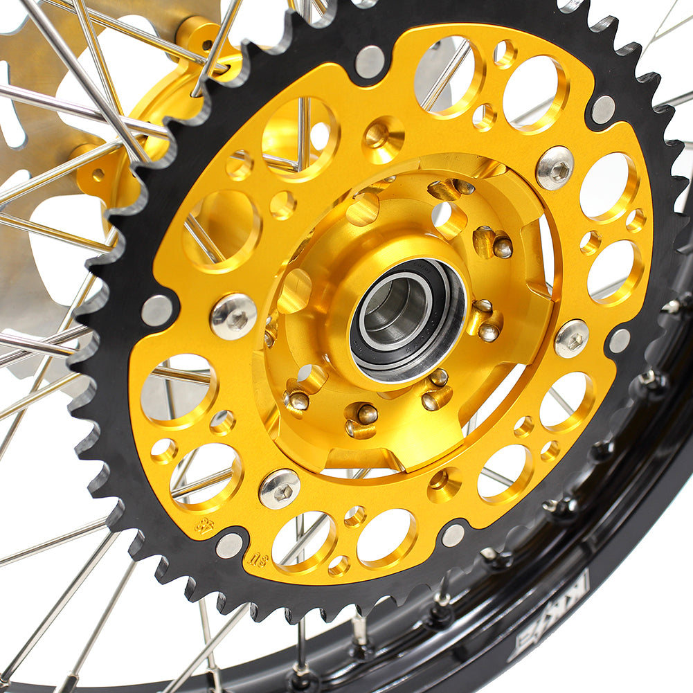 KKE 1.6*21 2.15*19 MX WHEELS RIMS SET FOR SUZUKI RM125 1996-2007 RM250 1996-2008 GOLD CNC HUBS BLACK RIMS - KKE Racing