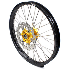 Load image into Gallery viewer, KKE 1.6*21 2.15*19 MX WHEELS RIMS SET FOR SUZUKI RM125 1996-2007 RM250 1996-2008 GOLD CNC HUBS BLACK RIMS - KKE Racing