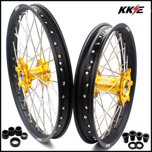 KKE 21 & 19 Spoked MX Wheels Rims Set for SUZUKI RM125 1996-2000 RM250 1996-2000 Gold Hub Black Rim