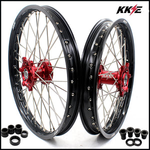 KKE 21 & 19 Spoked MX Wheels Rims Set for Suzuki RM125 1996-2007 RM250 1996-2008 Red Hub Off Road Dirt Bike Motorcycle Rims