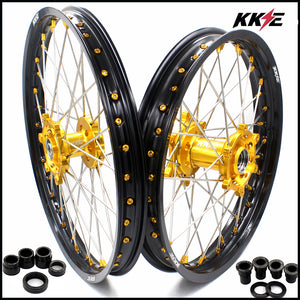 KKE 21 & 19 MX Dirt Bikes Wheels Rims Set for Suzuki RM125 1996-2000 RM250 Gold Nipple Silver Spoke