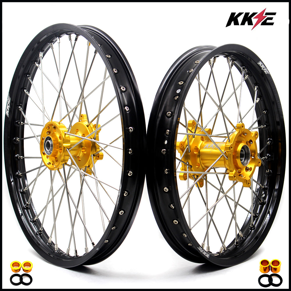 KKE 21 & 19 Wheels Set for Suzuki RMZ250 2007-2019 RMZ450 2005-2019 Gold Hub Black Rims