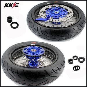 KKE 3.5 & 4.25 Cush Drive Supermoto Wheels Tires for Yamaha WR250F 2001-2019 WR450F 2003 Blue