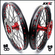 KKE 21 & 19 Casting MX Wheels for Honda CR125R 1998-2001 CR250R 1997 Red Black Disc