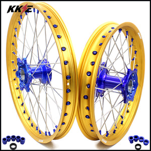 KKE Casting MX/Enduro Wheels Set for Yamaha YZ125 YZ250 YZ250F YZ450F Gold Rims