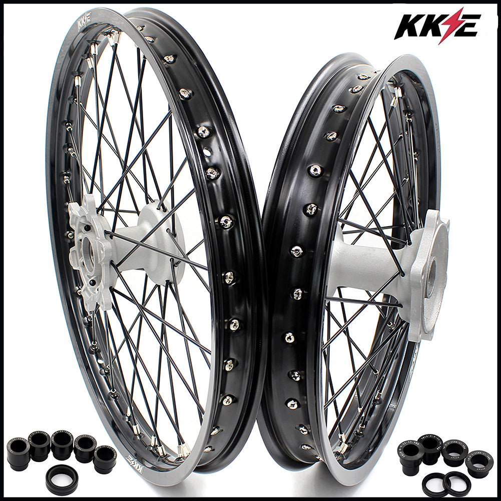 KKE 21 & 19 Casting MX Wheels for YAMAHA YZ250F 2001-2020 YZ450F 2003 Silver