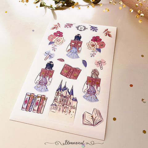 Autumn Fairytale Mini Deco Sticker Sheet Gold Foil Accents