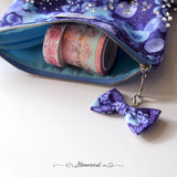 Blue Floral Pouch with Bow Dangle (OOPS zipper) - Limited Christmas Present Edition