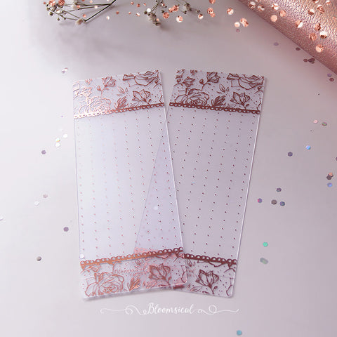 Floral Lineart Washi Card Rose Gold Foil