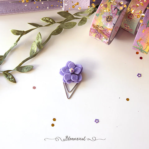 Purple Dainty Felt Flower Paper Clip Planner Accessories