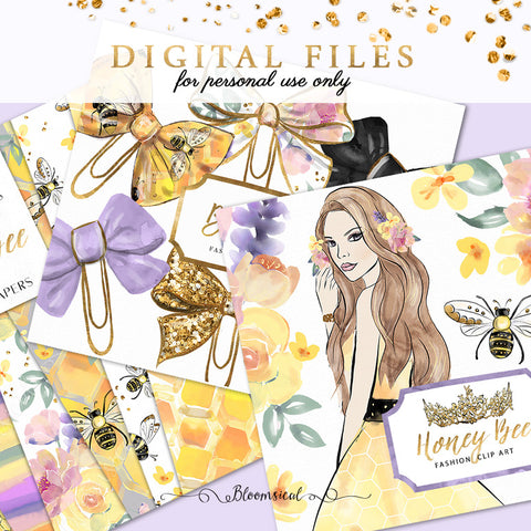 Honey Bee Digital Cliparts, Papers, Bow Clips BUNDLE DEAL