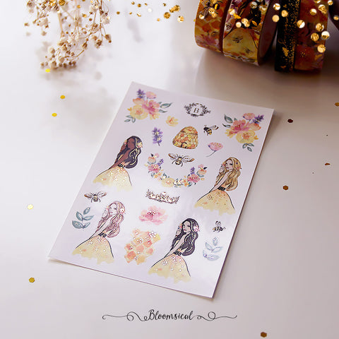Honey Bee Mini Deco Sticker Sheet Gold Foil Accents
