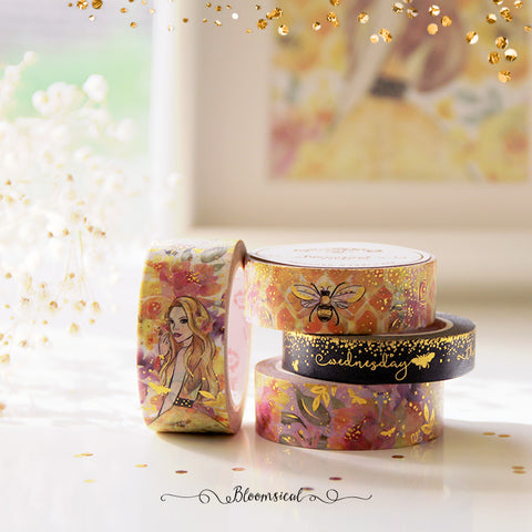 Honey Bee Washi Tape Collection Bright Gold Foil Set of 4