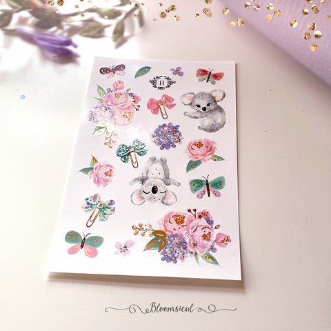 Koala Mini Deco Sticker Sheet Gold Foil Accents