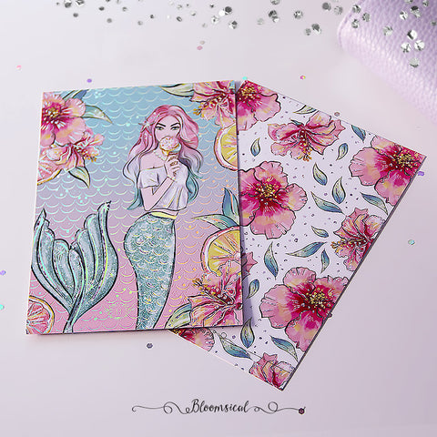 Mermaid Kisses Journaling Card Silver Holographic Foil