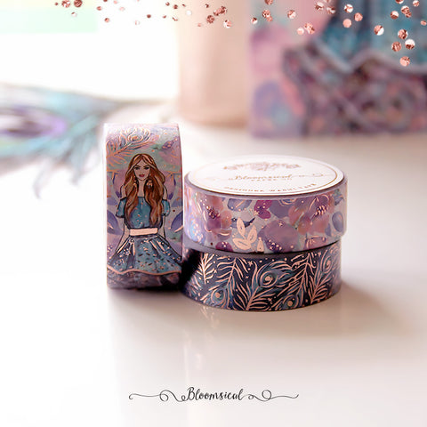 Midnight Feathers Washi Tape Collection Rose Gold Foil