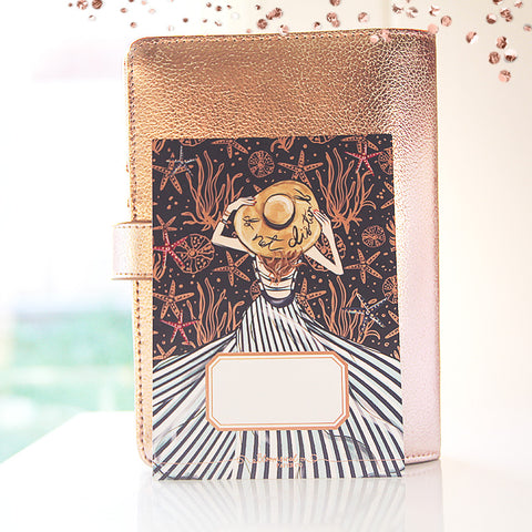 Nautical Journaling Card with Rose Gold Foil Accents