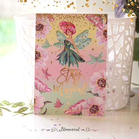 Rainbow Fairies Journaling Card Gold Foil