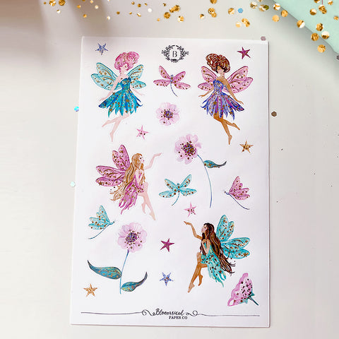 Rainbow Fairies Deco Sticker Sheet  - Gold Foil Accents