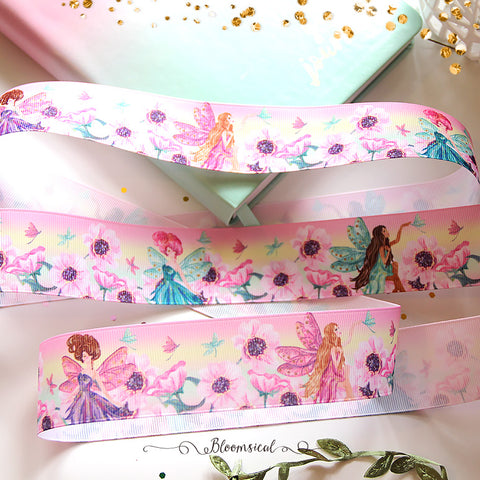 Rainbow Fairies Grosgrain Printed Ribbon