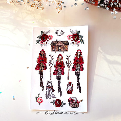 Red Riding Hood Mini Deco Sticker Sheet Silver Foil Accents