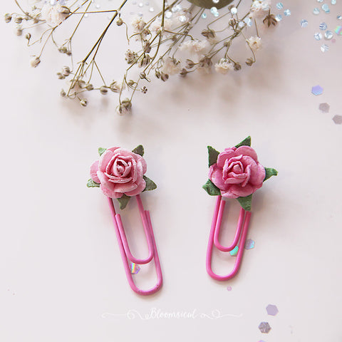 Pink Baby Rose Paper Clip Planner Accessories