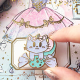 Kitty Candy Enamel Pin - Glitter & Gold - Sugar Rush Collection