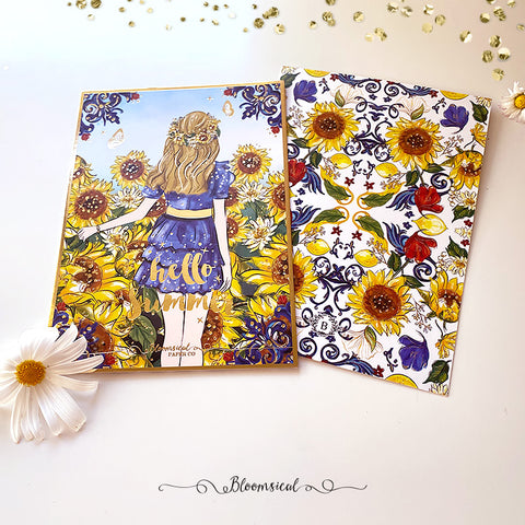 Sunflowers Journaling Card with Gold Foil Accents