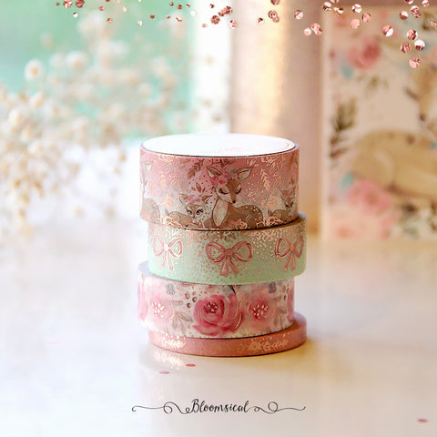 Woodland Dawn V2 Washi Tape Collection Rose Gold Foil Set of 4