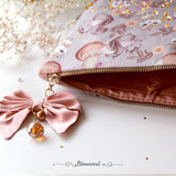 Hand crafted Woodland LARGE Pouch with Swarovski Bow Dangle Accessories (OOPS zipper)