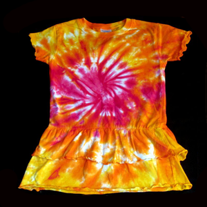 Tie dye Toddler Ruffle dress/pink sunrise