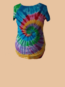 Women's short-sleeve Tee/Rainbow swirl #2