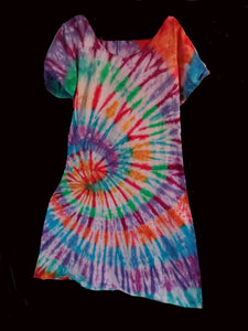 Women's Short Sleeve dress/ rainbowSwirl