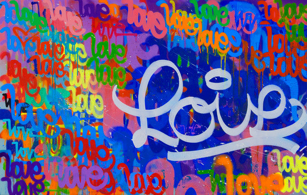 painting of the word love repeated
