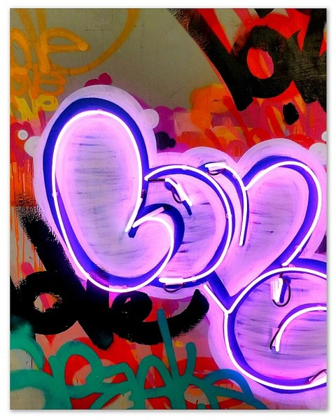 Painting with neon love letters on it
