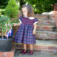 Sue Hill Florence hand smocked tartan dress