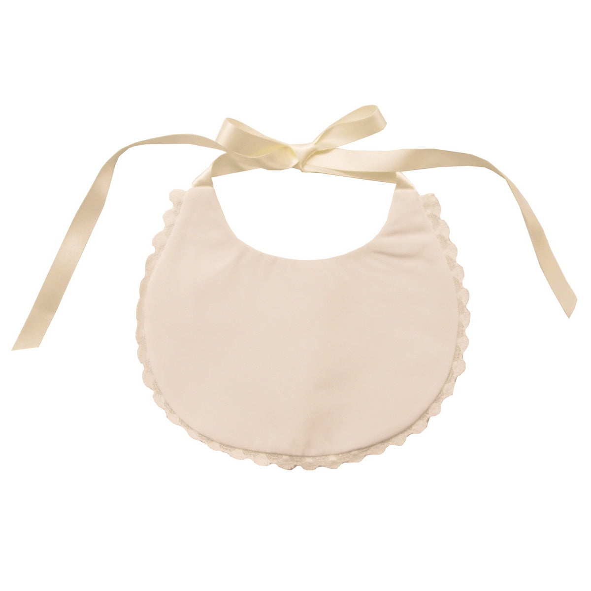 Sue hill christening bib with lace trim ivory