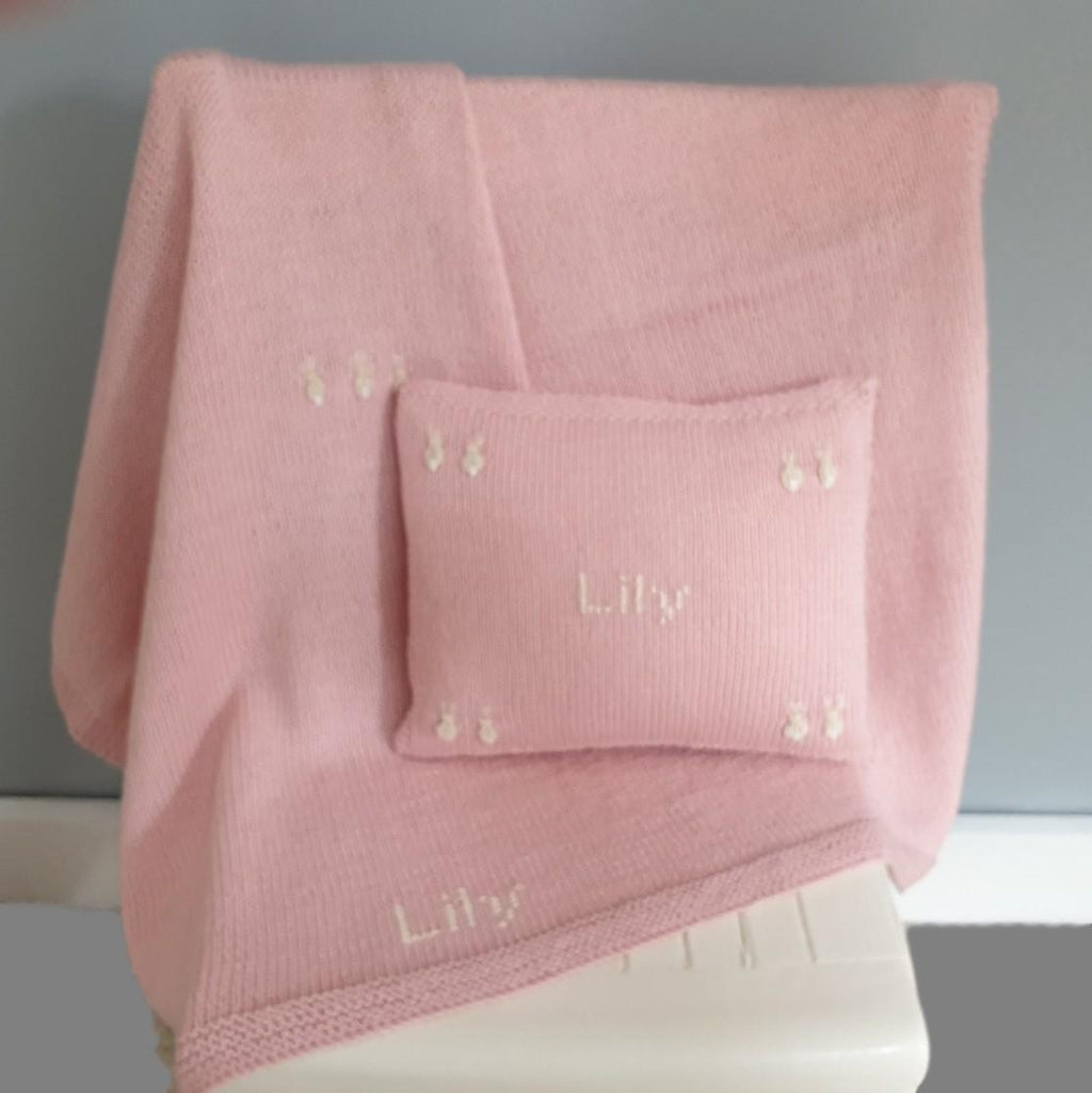 Personalised Bunnies Cushion & Blanket Set Pale Pink