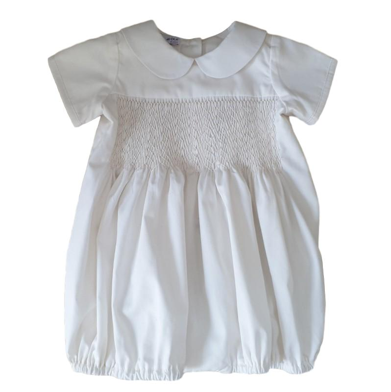 boy or girls hand smocked cotton bubble romper for christening or wedding by Sue Hill