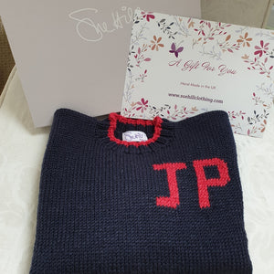 Boy's Personalised Name Sweater Navy
