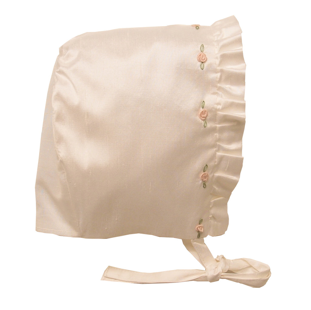 Silk baby girl christening bonnet rosa