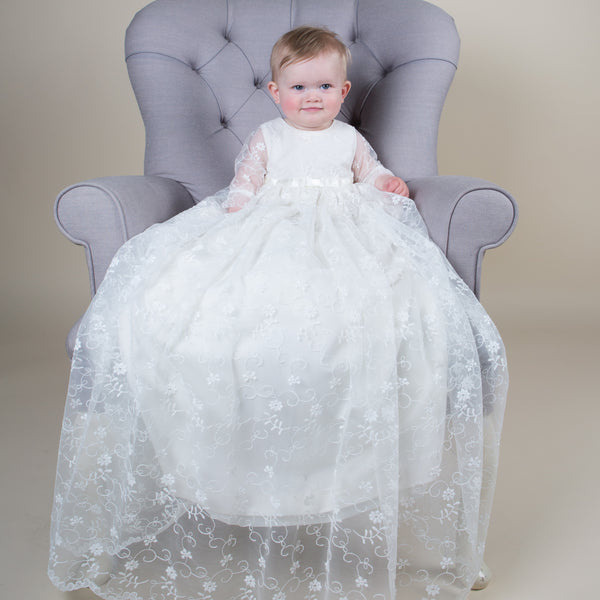 2936d23d38b0 Grace Silk & Lace Christening Gown – Sue Hill Childrenswear