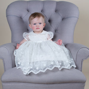 Sue Hill Grace silk and lace christening dress