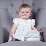 Sue Hill hand smocked silk christening dress