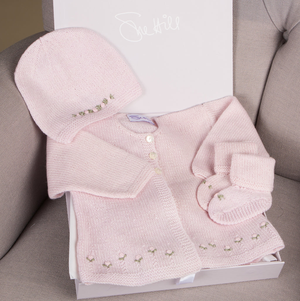 100616b5 Sue Hill cashmere baby girl roses cardigan baby gift set pink
