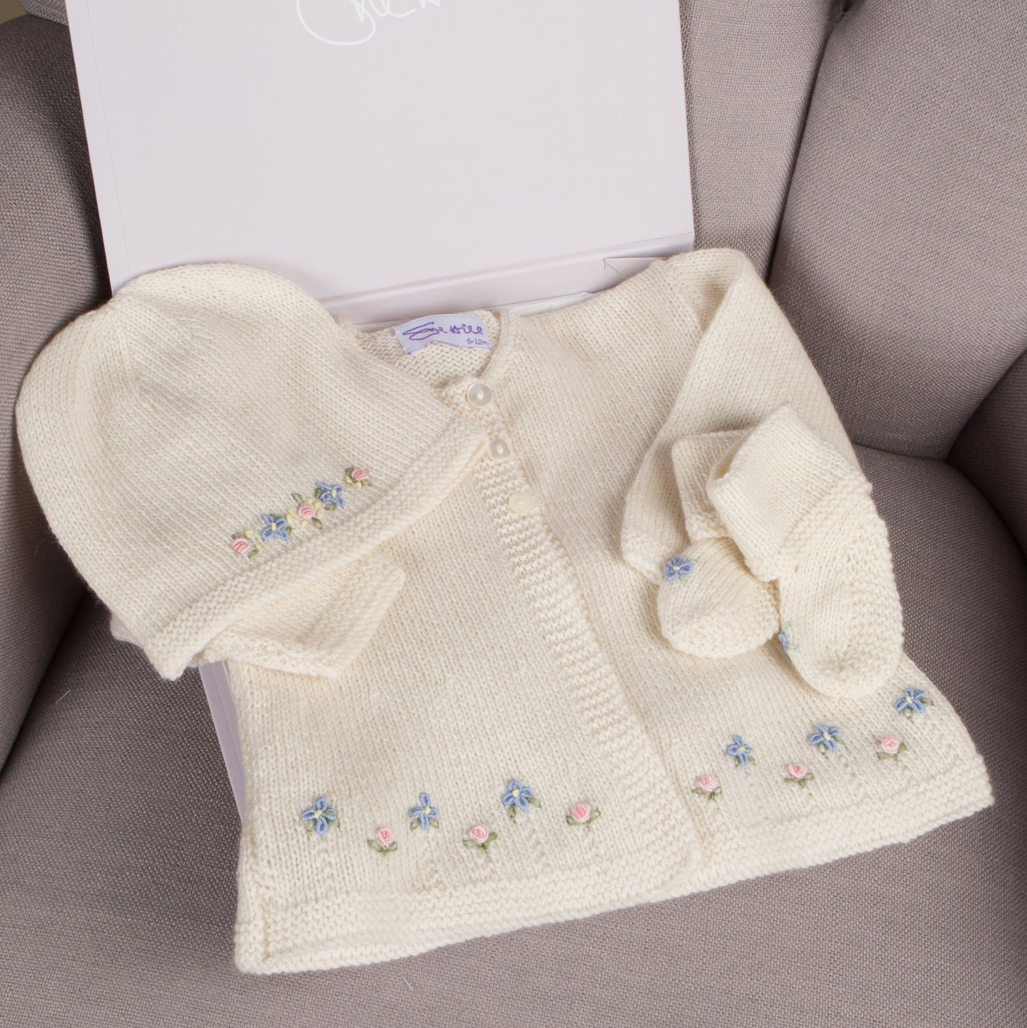 Sue Hill cashmere baby girl forget me not cardigan hat and booties baby gift set