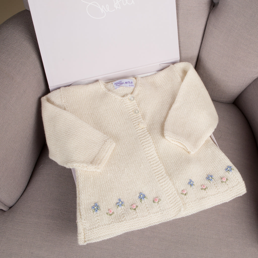 Sue Hill baby girl cashmere cardigan - forget me not
