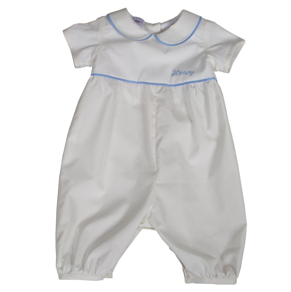 Personalised Baby Boy Romper Ivory/Pale Blue Cotton
